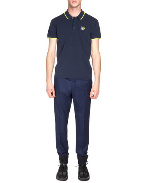 Tipped Tiger Short-Sleeve Pique Polo Shirt, Navy Yellow