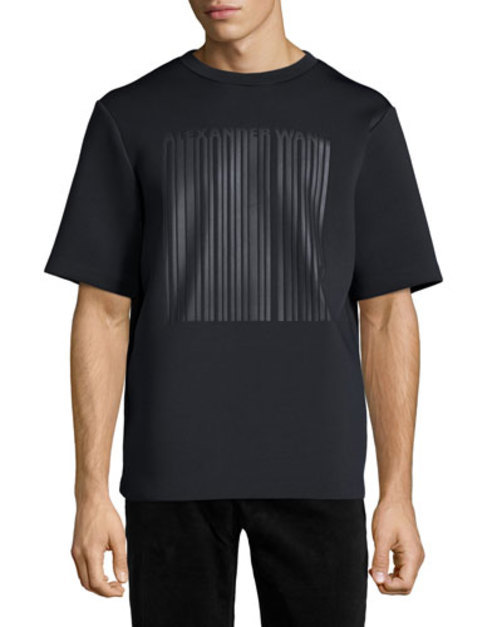 Neoprene Barcode Logo Short-Sleeve Tee, Black