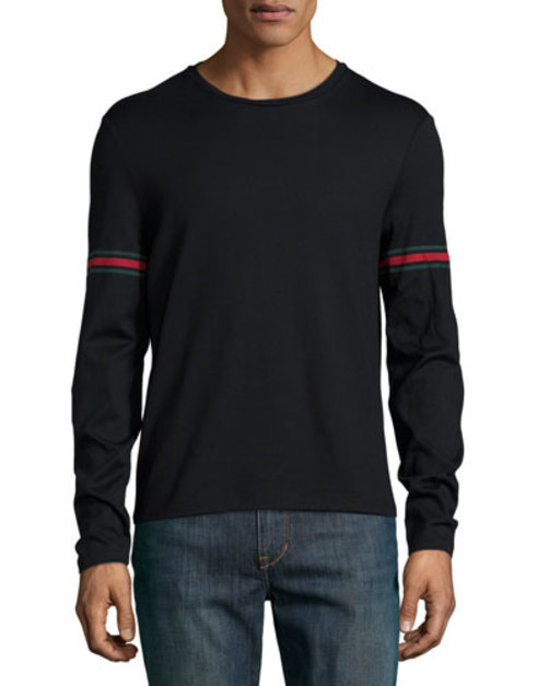 Black Long-Sleeve T-Shirt w Green Red Green Arm Band