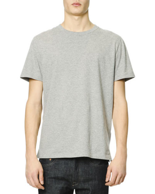 Short-Sleeve T-Shirt with Back Stud, Gray
