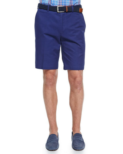 Cotton Twill Shorts, Navy