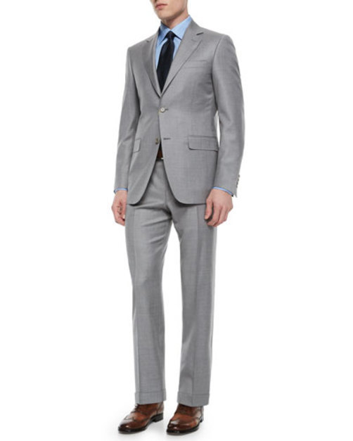 Solid Wool Two-Button Suit, Pearl Gray
