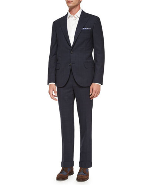Windowpane Two-Piece Wool Suit, Navy