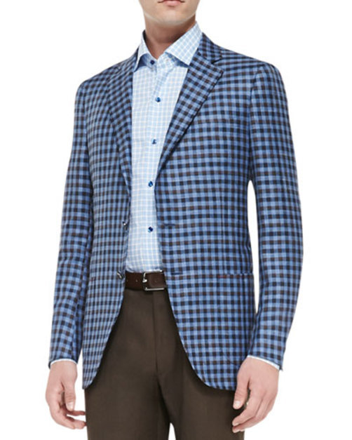 Exploded Check Jacket, Blue Brown