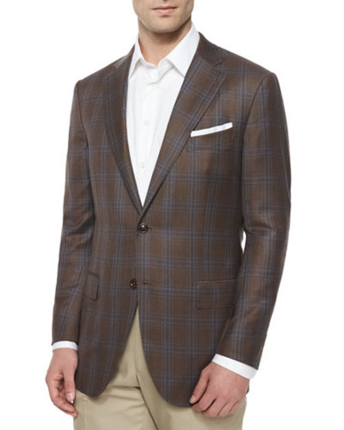 Plaid Two-Button Sport Coat, Brown Turquoise