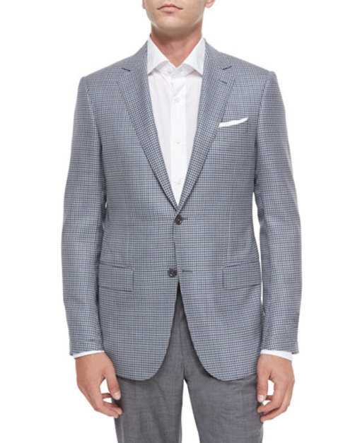 Mini-Check Two-Button Wool Jacket, Gray Blue