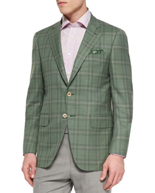 Plaid Jacket with Contrast Deco, Green Lavender