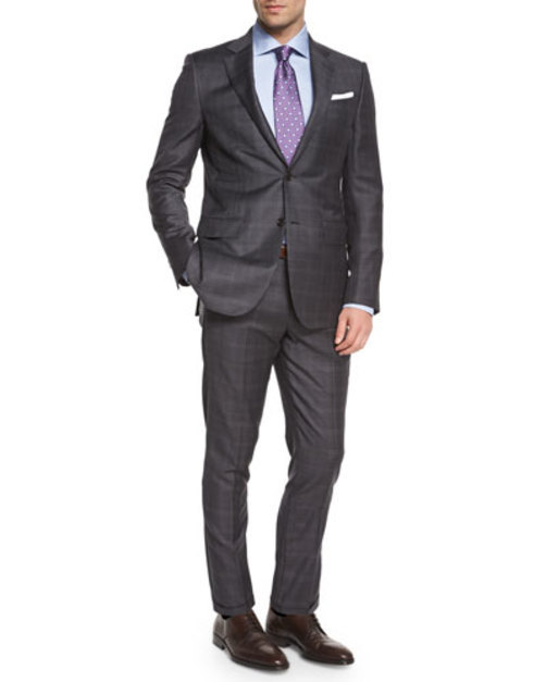 Trofeo Plaid Two-Piece Suite, Gray