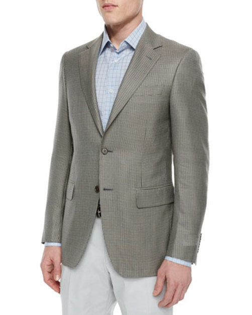 Houndstooth Print Two-Button Sport Coat, Tan Black