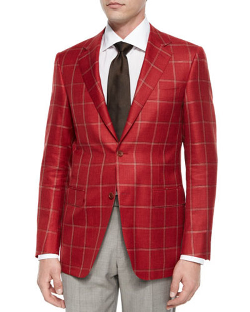 Windowpane Two-Button Jacket, Red