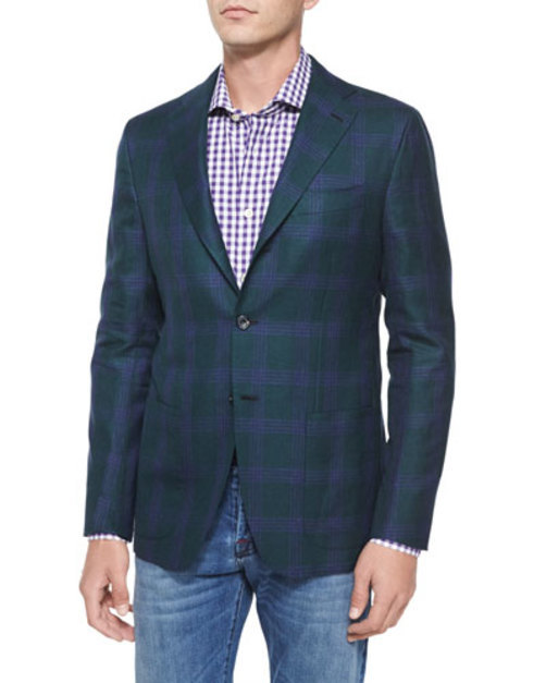 Cashmere Linen Plaid Two-Button Jacket, Green Purple