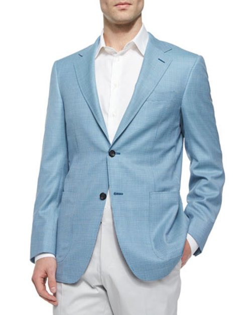 Two-Button Check Blazer, Teal