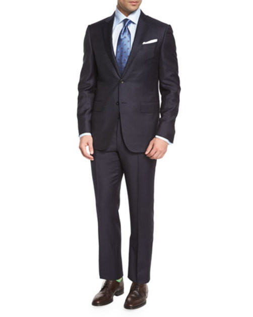 Trofeo Graph-Check Two-Piece Suit, Navy