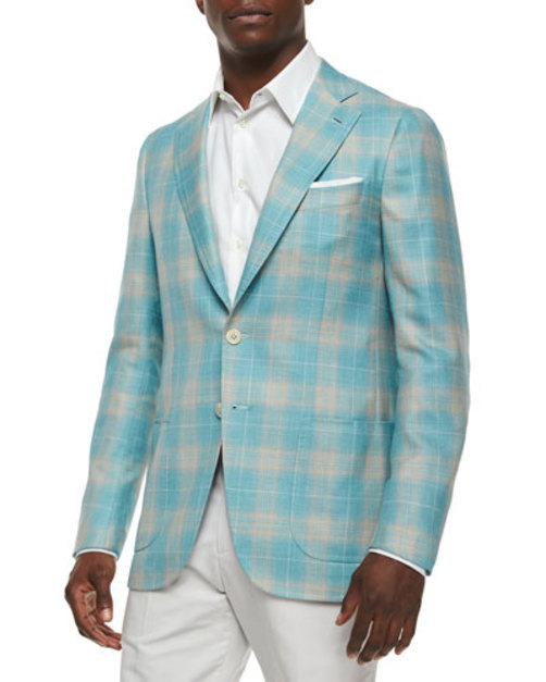 Plaid Cashmere-Blend Sport Coat, Seafoam Tan