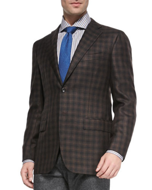 Two-Button Check Blazer, Brown Black