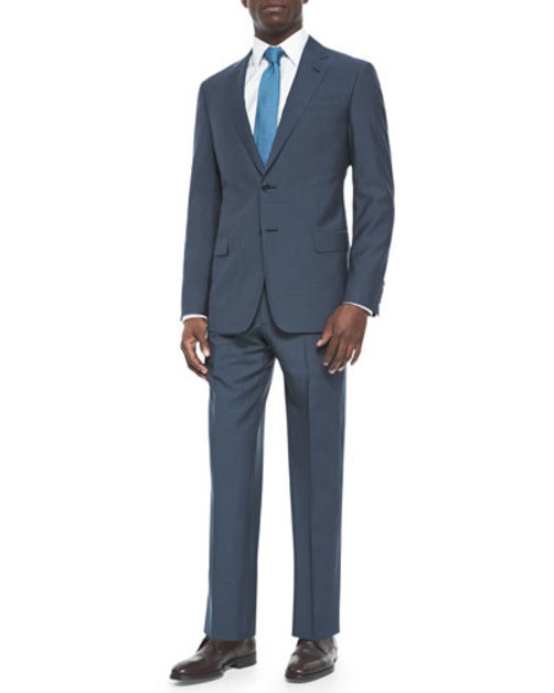 G-Line Solid Two-Piece Suit, Slate Blue
