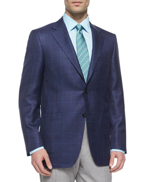 Two-Button Plaid Sport Coat, Navy Green