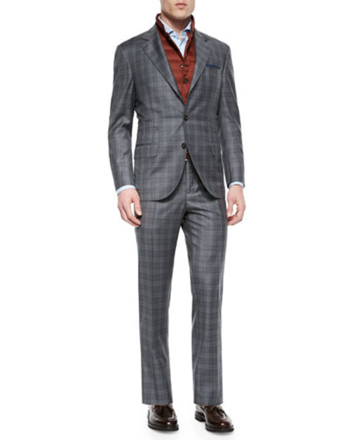 Plaid Two-Piece Wool Suit, Gray