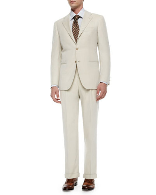 Two-Piece Wool Suit, Tan