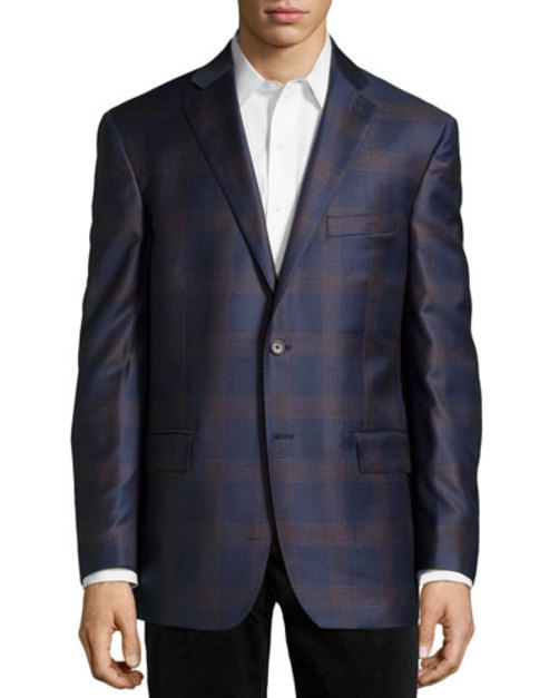 Plaid Sport Coat, Navy Brown, Long