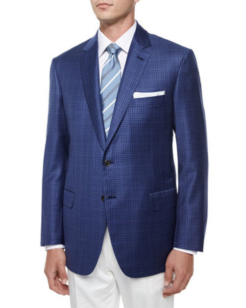 Check Wool Sport Jacket, Gray Blue
