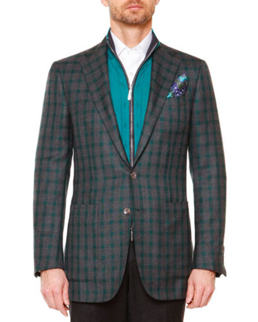 Windowpane Two-Button Blazer, Gray