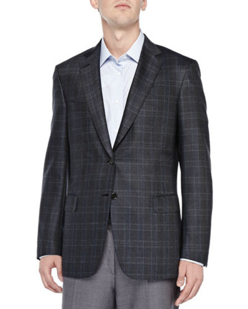 Plaid Two-Button Jacket, Olive Blue