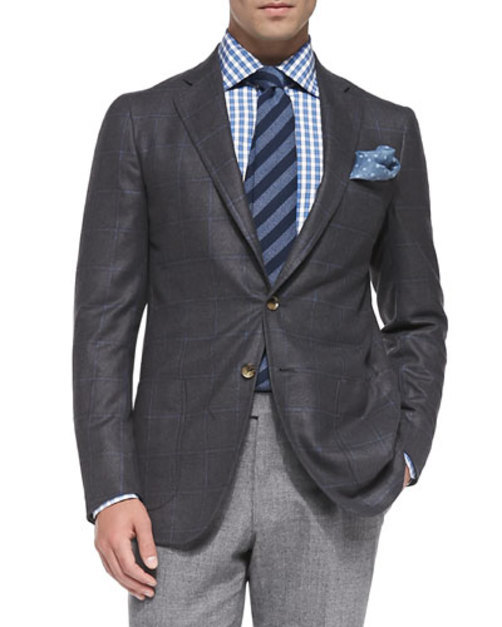 Windowpane Two-Button Jacket, Gray blue