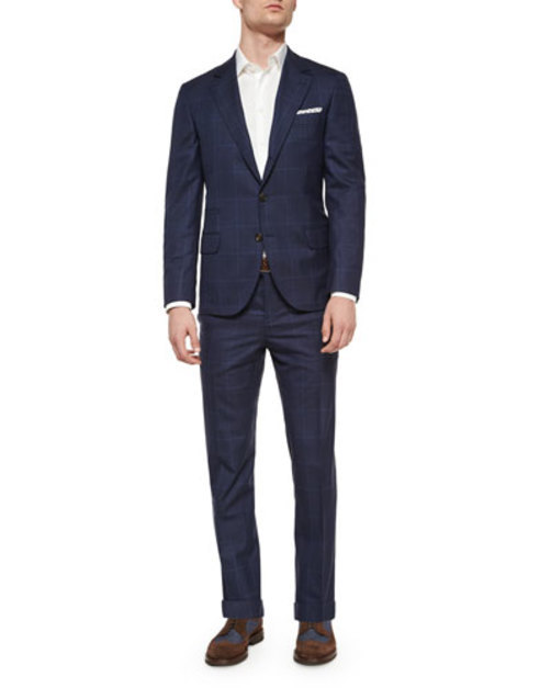 Plaid Windowpane Two-Piece Wool Suit, Navy
