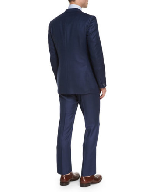 Textured Solid Two-Piece Wool Suit, Blue