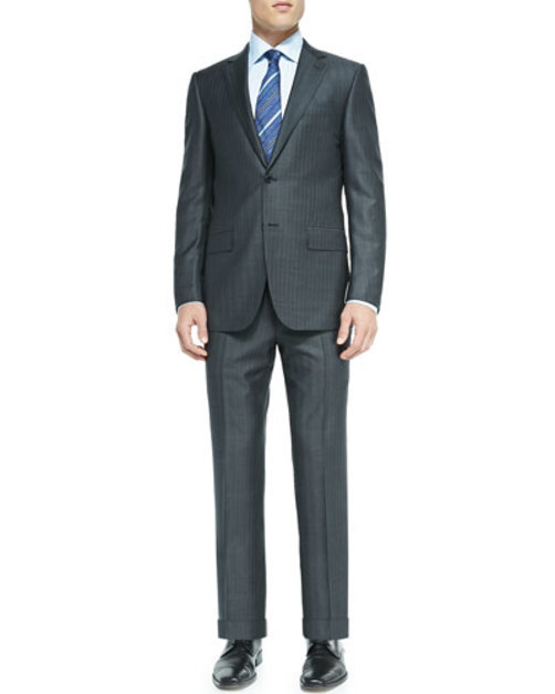 Trofeo Tic Stripe Suit, Gray
