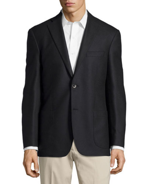 Solid Sport Coat, Black, Regular Length