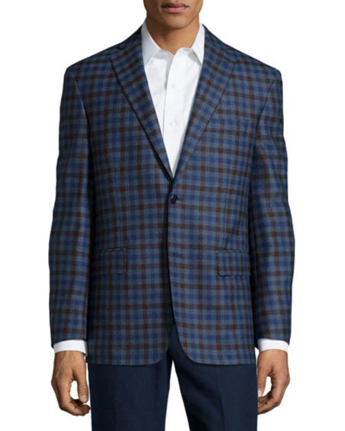 Wool Plaid Sport Coat, Blue Brown Check, Regular