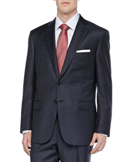 Striped Two-Piece Suit, Blue Brown