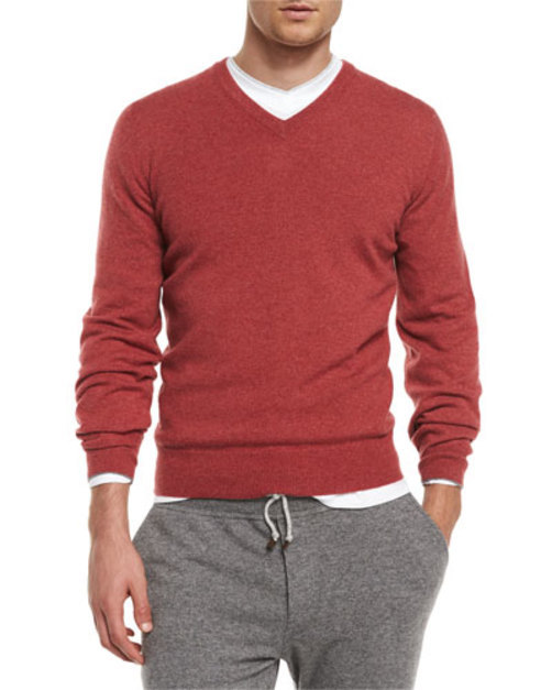 Pullover V-Neck Red Cashmere Sweater,