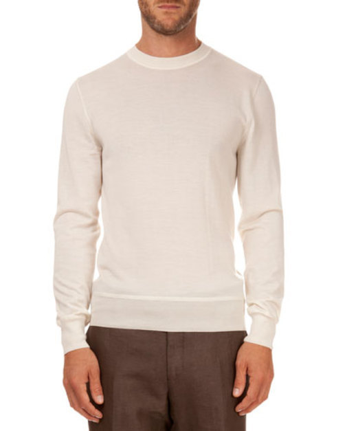 Leather Shoulder Detail Crew Neck Sweater, Ivory