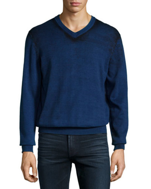 <title>Printed 格安SALEスタート V-Neck Sweater Blue</title>