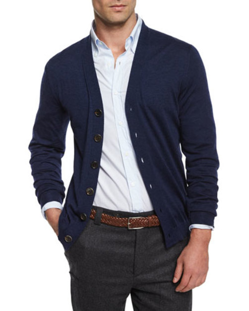 Wool-Blend Button Cardigan, Navy