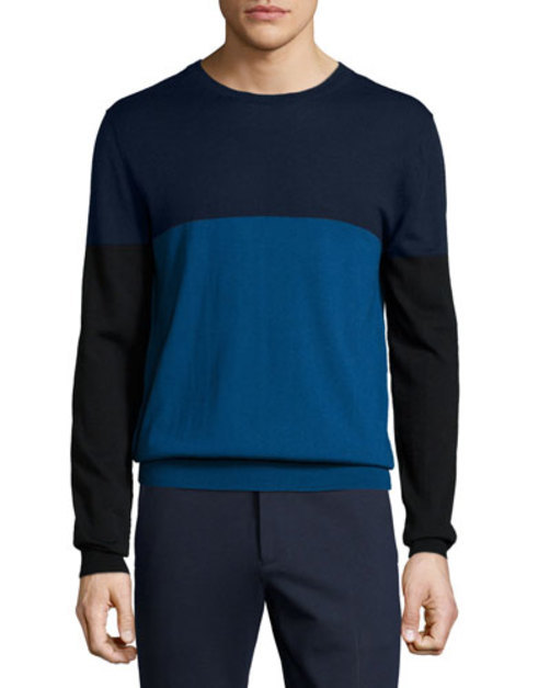 Colorblock Wool Crewneck Sweater, Navy