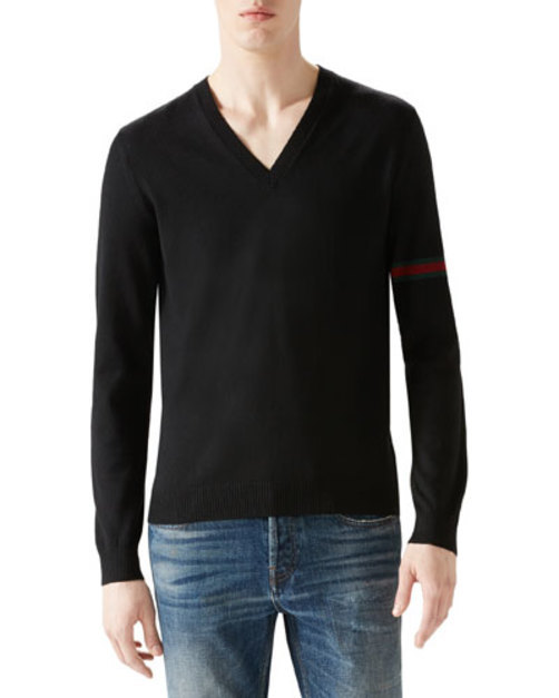Black V-Neck Sweater w Green Red Green Arm Band