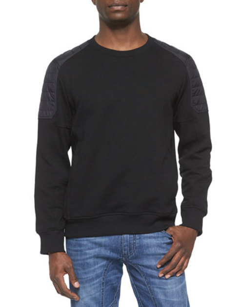 Chanton Moto Fleece Sweater, Black