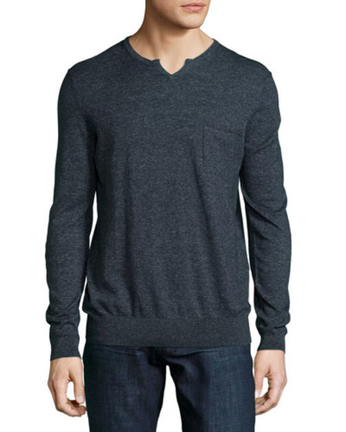 Udrano Melange V-Neck Sweater, Navy