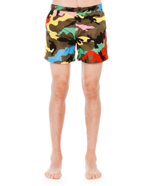 Bright Camo-Print Swim Trunks