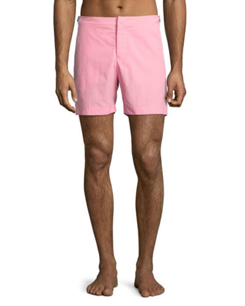 Bulldog Mid-Length Swim Trunks, Pink
