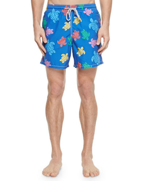Moorea Turtle-Print Swim Trunks, Navy Multi