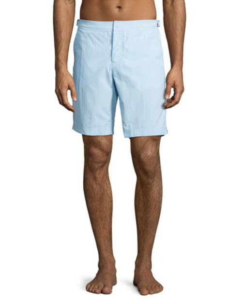Bulldog Mid-Length Solid Swim Trunks, Light Blue