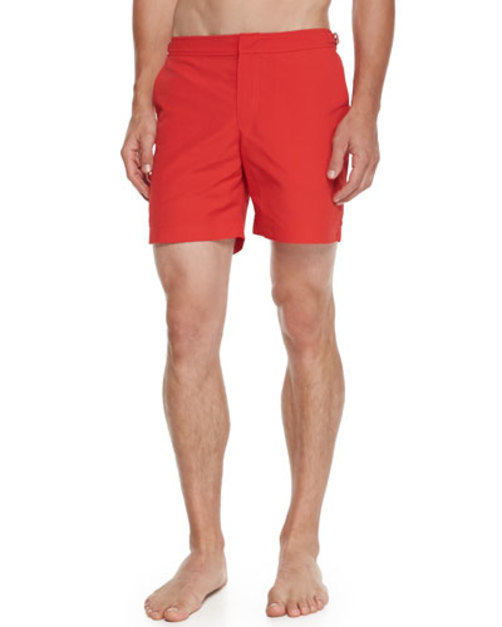 Bulldog Mid-Length Swim Trunks, Red
