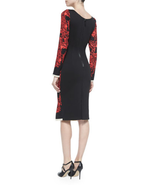 Long-Sleeve Floral-Print Ruched Dress