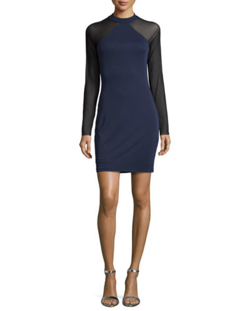 Goldie Long-Sleeve Mixed-Media Dress, Black/Indigo