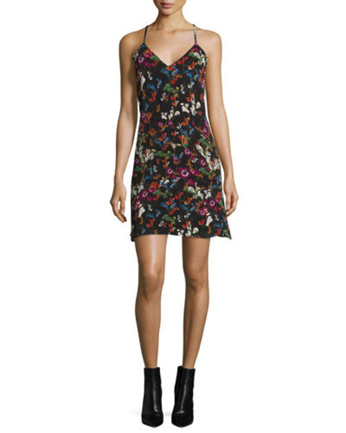 Ashelna Fall Garden Sleeveless Chiffon Mini Dress, Black/Multicolor